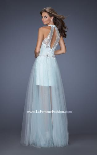 Picture of: High Neck Prom Dress with Floral and Jeweled Appliques, Style: 19970, Back Picture