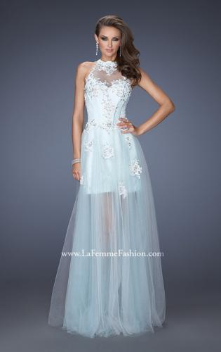 Picture of: High Neck Prom Dress with Floral and Jeweled Appliques, Style: 19970, Detail Picture 1