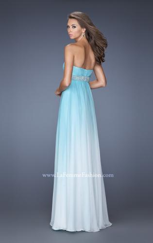 Picture of: Ombre Dyed Long Prom Gown with Plunging Neckline, Style: 20005, Back Picture