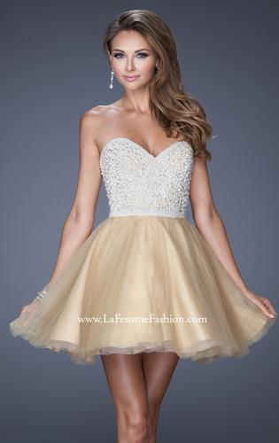 Picture of: A-line Short Dress with Sweetheart Neckline and Pearls, Style: 20033, Detail Picture 1