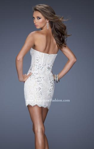 Picture of: Lace Mini Dress with Beaded Lace Detail, Style: 20054, Back Picture