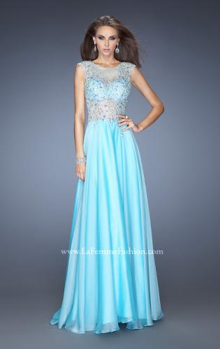 Picture of: Chiffon Prom Dress with Boat Neck and Cap Sleeves, Style: 20074, Main Picture