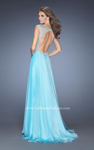 Picture of: Chiffon Prom Dress with Boat Neck and Cap Sleeves, Style: 20074, Back Picture