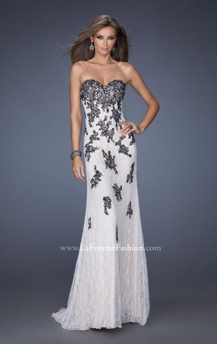 Picture of: Lace Column Prom Gown with Black Lace Appliques, Style: 20076, Main Picture