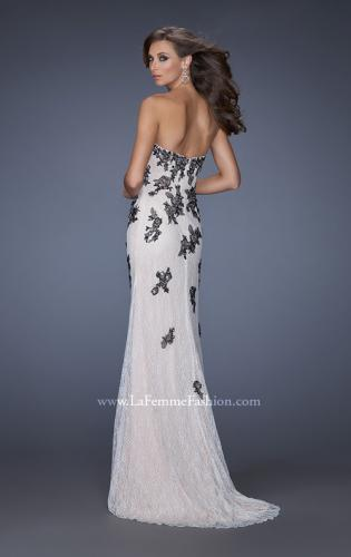 Picture of: Lace Column Prom Gown with Black Lace Appliques, Style: 20076, Back Picture