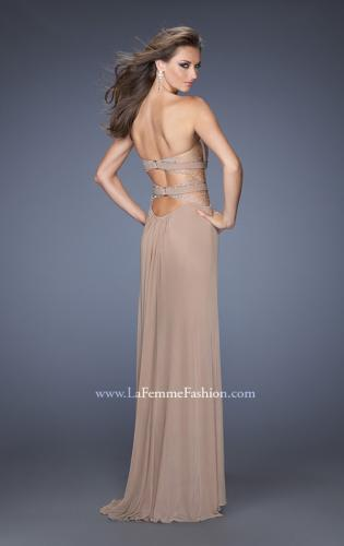 Picture of: Strapless Mini Dress with Floor Length Skirt Overlay, Style: 20094, Back Picture
