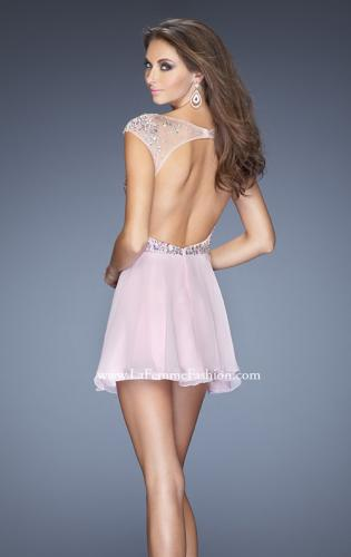 Picture of: Long Prom Dress with Gathered Skirt and Cap Sleeves, Style: 20159, Back Picture