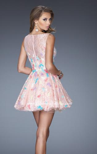 Picture of: Short Lace A-line Dress with High Boat Neckline, Style: 20164, Back Picture
