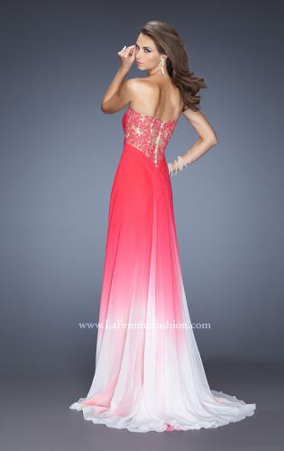 Picture of: Ombre Chiffon Prom Dress with Criss Cross Ruched Bodice, Style: 20167, Back Picture