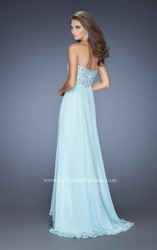 Picture of: Natural Waist Chiffon Prom Dress with Stones and Jewels, Style: 20168, Back Picture