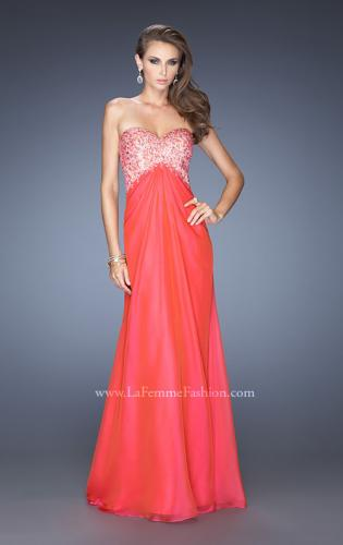 Picture of: Long Chiffon Prom Dress with Sheer Detail and Jewels, Style: 20169, Main Picture