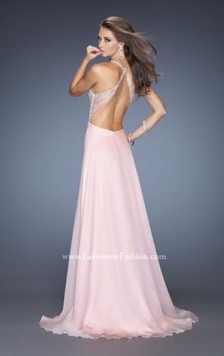 Picture of: Long V Neck Prom Gown with Chiffon Skirt and Illusion Straps, Style: 20171, Back Picture