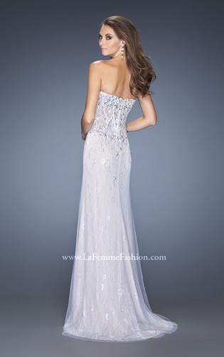 Picture of: Strapless White Lace Prom Gown with Floral Applique, Style: 20172, Back Picture