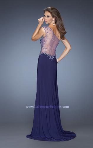 Picture of: Long Ruched Prom Dress with Side Slit and Net Detail, Style: 20176, Back Picture