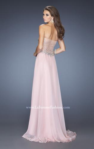 Picture of: Long Strapless Embellished Prom Dress with Net Overlay, Style: 20178, Back Picture