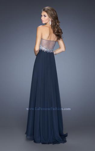 Picture of: Chiffon Gown with Natural Waist and Low Back, Style: 20217, Back Picture