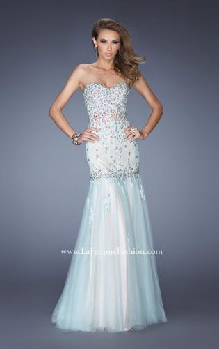 Picture of: Strapless Jeweled Prom Dress with Colored Tulle Overlay, Style: 20220, Main Picture