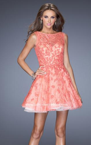 Picture of: Lace Cocktail Dress with High Boat Neck and Full Skirt, Style: 20244, Detail Picture 1