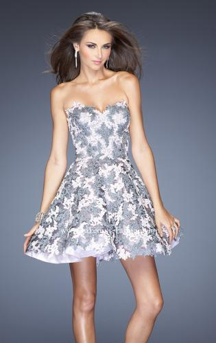 Picture of: Natural Waist Short Dress with Full Skirt and Lace Appliques, Style: 20246, Main Picture