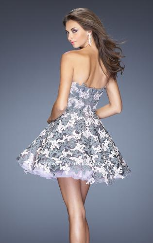 Picture of: Natural Waist Short Dress with Full Skirt and Lace Appliques, Style: 20246, Back Picture