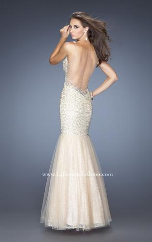 Picture of: V Neck Lace Mermaid Prom Dress Covered in Sequins, Style: 20381, Back Picture