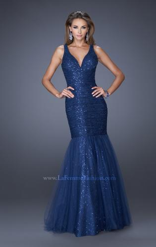 Picture of: V Neck Lace Mermaid Prom Dress Covered in Sequins, Style: 20381, Detail Picture 1