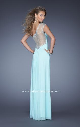 Picture of: Net Jersey Prom Dress with Criss Cross Ruched Bodice, Style: 20384, Back Picture