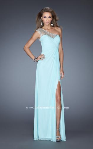 Picture of: Net Jersey Prom Dress with Criss Cross Ruched Bodice, Style: 20384, Detail Picture 2