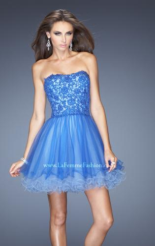 Picture of: Short Strapless Tulle Dress with ruffled Hem and Lace, Style: 20386, Main Picture
