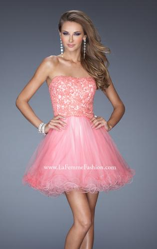Picture of: Short Strapless Tulle Dress with ruffled Hem and Lace, Style: 20386, Detail Picture 1