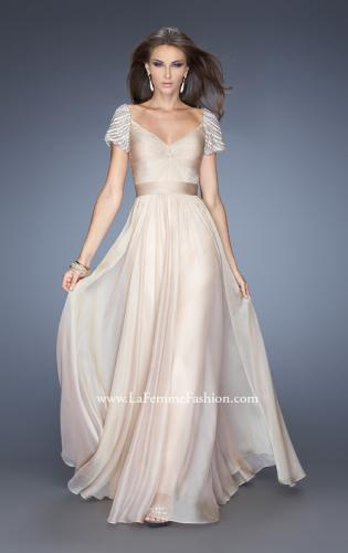 Picture of: Long Chiffon Prom Gown with Ruched Knotted Bodice, Style: 20390, Main Picture