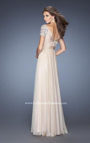 Picture of: Long Chiffon Prom Gown with Ruched Knotted Bodice, Style: 20390, Back Picture
