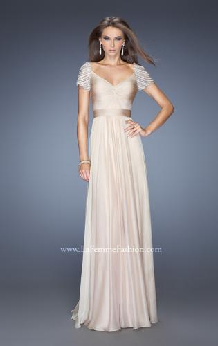 Picture of: Long Chiffon Prom Gown with Ruched Knotted Bodice, Style: 20390, Detail Picture 1