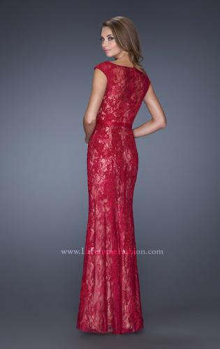Picture of: Lace Evening Gown with Cap Sleeves and Ribbon Belt, Style: 20394, Back Picture