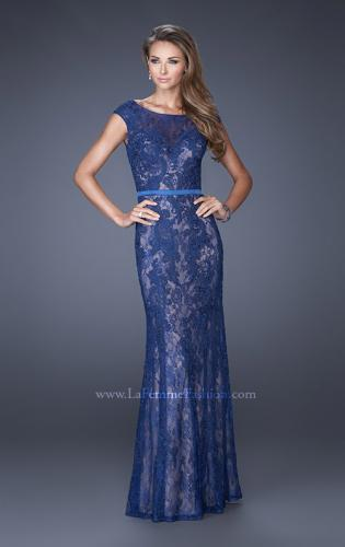 Picture of: Lace Evening Gown with Cap Sleeves and Ribbon Belt, Style: 20394, Detail Picture 1