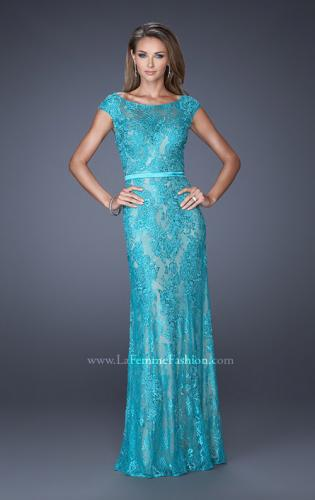 Picture of: Lace Evening Gown with Cap Sleeves and Ribbon Belt, Style: 20394, Detail Picture 2