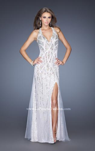 Picture of: V Neck Lace Prom Dress with Slit and Open Back, Style: 20421, Main Picture