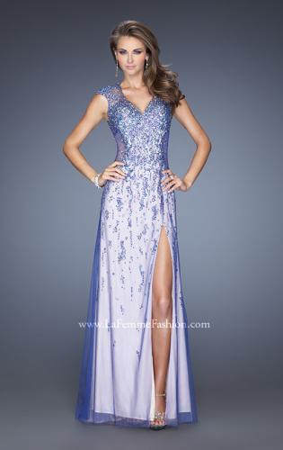 Picture of: Cap Sleeve Prom Dress with Tulle Overlay and Slit, Style: 20422, Main Picture