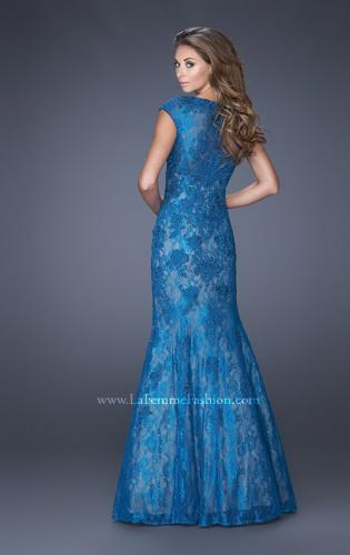 Picture of: Trumpet Style Gown with Sheer Lace Detailing, Style: 20427, Back Picture
