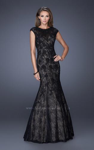 Picture of: Trumpet Style Gown with Sheer Lace Detailing, Style: 20427, Detail Picture 1