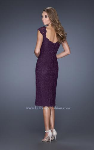 Picture of: Cap Sleeve Lace Prom Dress with Scalloped Lace Trim, Style: 20443, Back Picture