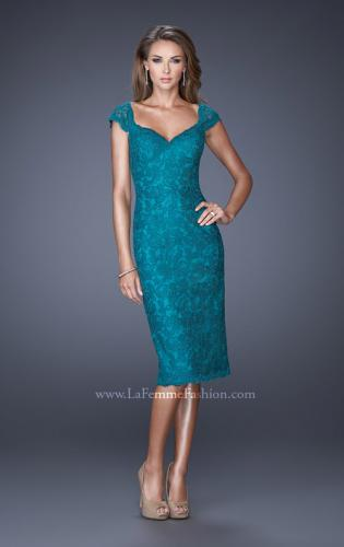Picture of: Cap Sleeve Lace Prom Dress with Scalloped Lace Trim, Style: 20443, Detail Picture 1
