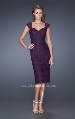 Picture of: Cap Sleeve Lace Prom Dress with Scalloped Lace Trim, Style: 20443, Detail Picture 2