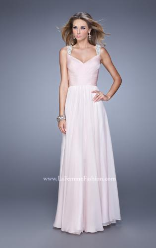 Picture of: Long Chiffon Gown with Jeweled Straps and V Neck, Style: 20448, Detail Picture 1