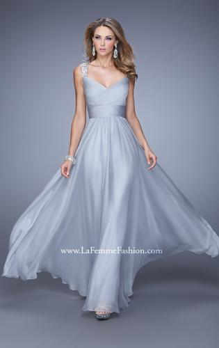Picture of: Long Chiffon Gown with Jeweled Straps and V Neck, Style: 20448, Detail Picture 2