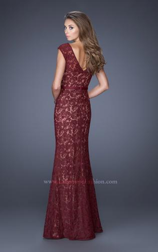 Picture of: Bold Lace Dress with V Neckline and Thin Belt, Style: 20450, Back Picture