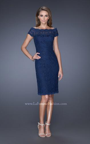 Picture of: Cap Sleeve High Neck Lace Evening Dress with Lace Trim, Style: 20462, Main Picture