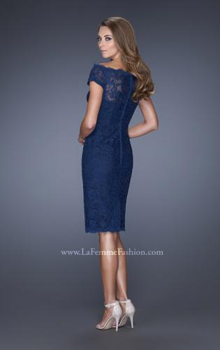 Picture of: Cap Sleeve High Neck Lace Evening Dress with Lace Trim, Style: 20462, Back Picture