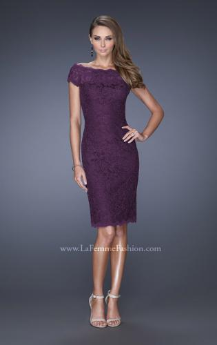 Picture of: Cap Sleeve High Neck Lace Evening Dress with Lace Trim, Style: 20462, Detail Picture 2