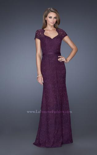Picture of: Cap Sleeve Lace Evening Dress with Belted Waist, Style: 20464, Main Picture